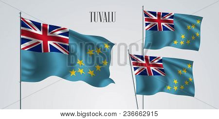 Tuvalu Waving Flag Set Of Vector Illustration. Blue Red Colors Of Tuvalu Wavy Realistic Flag As A Pa