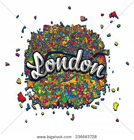 London Map With Written Headline. Hand Drawn Skyline Illustration. Travel The World Concept Vector I