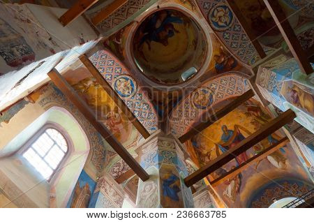 Veliky Novgorod, Russia- August 11, 2017. Inside View Of Cathedral Of Nativity Of Our Lady At St Ant