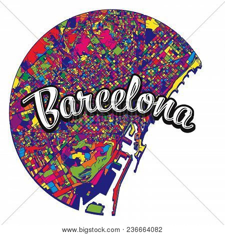 Barcelona Map With Written Headline. Vector Image For Digital Marketing And Poster Prints.