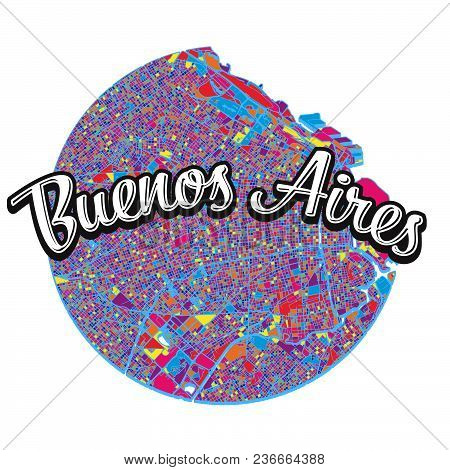 Buenos Aires With Written Headline. Travel The World Concept Vector Image For Digital Marketing And