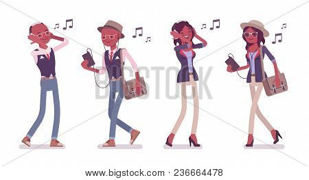 Black Intelligent Smart Casual Man And Attractive Woman Wearing Hat, Glasses Listening To Music Via