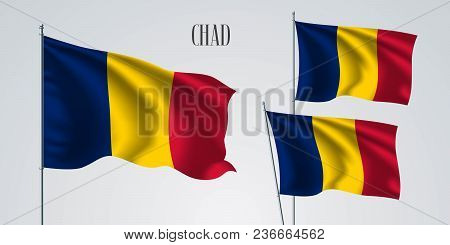 Chad Waving Flag Set Of Vector Illustration. Yellow Red Colors Of Chad Wavy Realistic Flag As A Patr