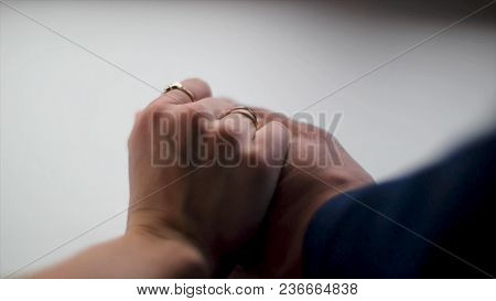 Hands In Love. Close Up Bride Groom Holding Hand.