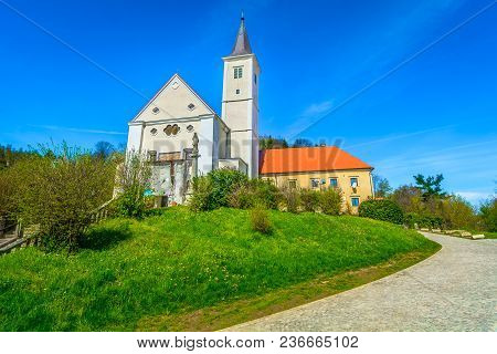 Scenic View At Baroque Architecture In Krapina Town, Old Franciscan Monastery.