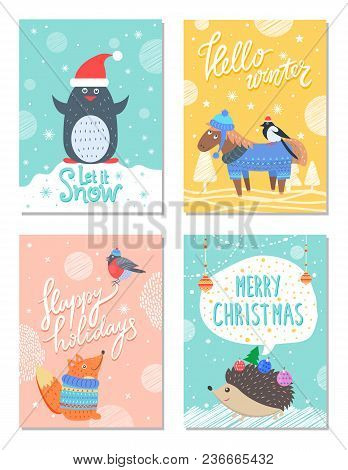 Let It Snow Hello Winter 60s Colorful Postcard With Cute Animals In Warm Clothes. Vector Illustratio