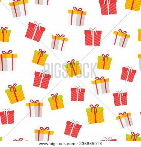 Colorful Giftboxes Cartoon Seamless Pattern. Wrapped Boxes With Stripes And Bows Flat Vector Isolate
