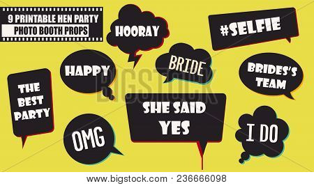 Hipster Photo Booth Props Set Vector Illustration. Collection Of Wedding Hen Party Speech Bubbles. P