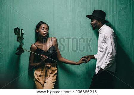 Beautiful Young African Couple Standing Close To Each Other
