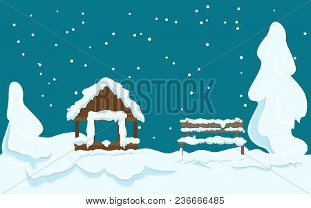 Garden House And Wooden Bench Covered With White Snow Near Trees Under Snow. Vector Illustration Of