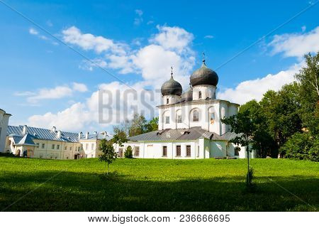 Veliky Novgorod, Russia. Cathedral Of The Nativity Of Our Lady In St Anthony Monastery In Veliky Nov