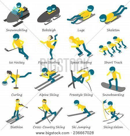 Winter Sport Ski Snowboard Icons Set. Isometric Illustration Of 16 Winter Sport Ski Snowboard Vector