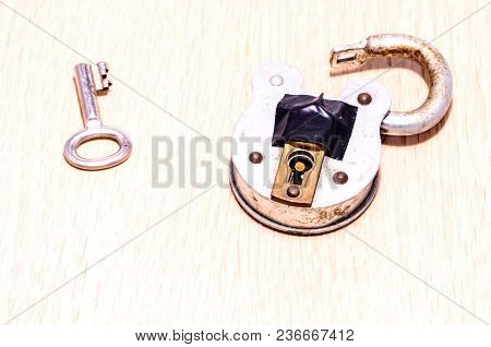 Old Antique Vintage Padlock On A White Background