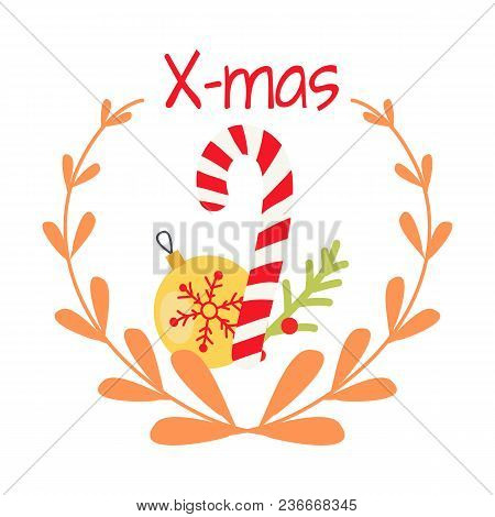 Beautiful Christmas Badge On White Background. Vector Illustration Of Holiday Decor Elements Yellow