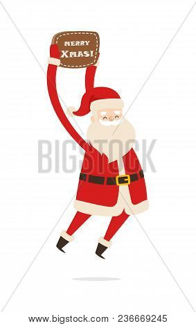 Jumping Santa Claus With Brown Table Merry Christmas. Vector Illustration Of Fitness Activities By S