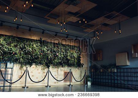 Kharkiv, Ukraine, April 5, 2018. Interior Design Of Modern Hotel Lobby. Shopping Center Hall. Busine
