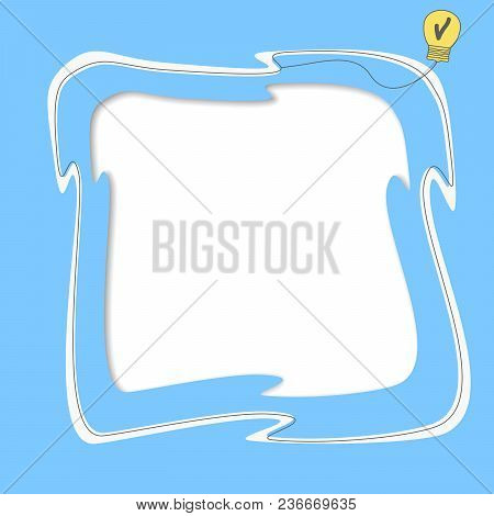 White Text Frame, Yellow Bulb Light Idea With Cheks Box On Blue Background.