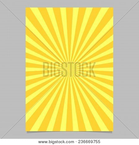 Retro Geometrical Sun Burst Brochure, Card Template - Vector Stationery Background Graphic From Radi