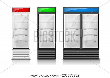 Display Fridge White And Black Glass Sliding Doors. Modern Supermarket Commercial Freezer Equipment