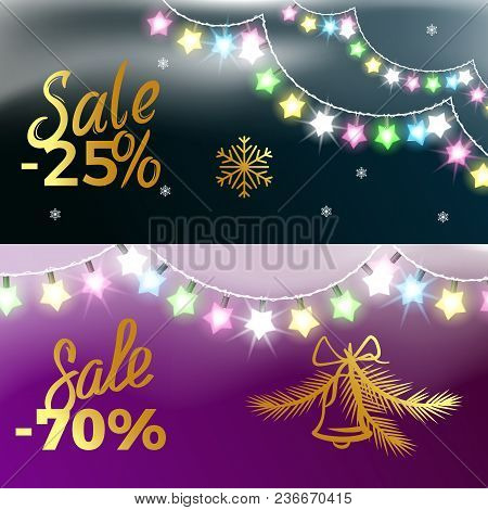 -25 And -70 Sale New Year Theme With Colorful Garland, Snowflakes And Bell. Vector Illustration Of H