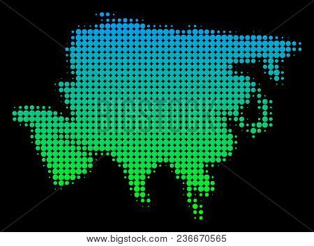 Halftone Circle Spot Asia Map. Vector Territory Map In Green-blue Gradient Colors On A Black Backgro