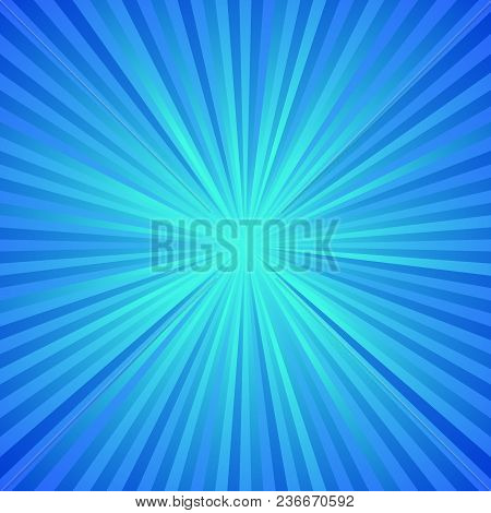Blue Dynamic Ray Burst Background - Abstract Gradient Vector Design From Radial Stripes
