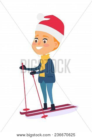 Isolated Smiling Boy Skiing On White Background. Vector Illustration Of Happy Child Doing Winter Kin