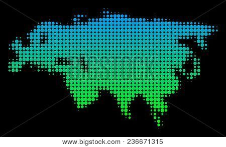 Halftone Circle Blot Eurasia Map. Vector Geographic Map In Green-blue Gradient Colors On A Black Bac