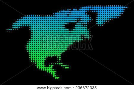 Halftone Round Dot North America Map. Vector Territory Map In Green-blue Gradient Colors On A Black