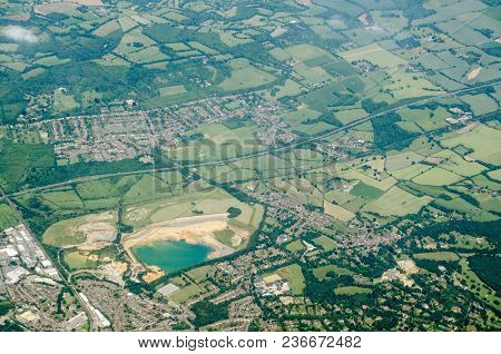 Aerial View Of Sevenoaks In Kent With The Tarmac  Quarry Towards The Left Hand Side.  The Quarry Pro