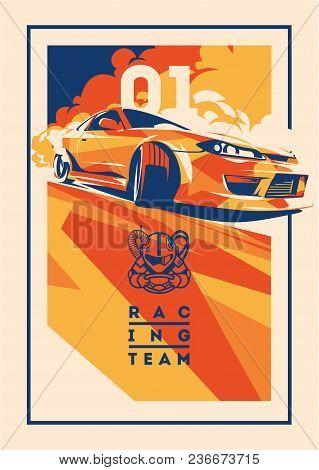 Burnout Car, Japanese Drift Sport Car, Street Racing, Racing Team, Turbocharger, Tuning. Vector Illu
