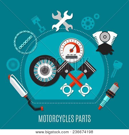 Motorcycles Parts Design Concept With Speedometer Tire Pistons Exhaust Muffler Spark Plug Engine Dec