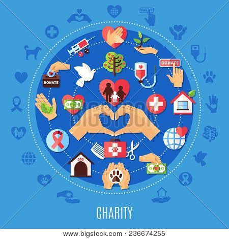 Charity Round Composition With Set Of Isolated Emoji Style Donation Icons And Decorative Symbols Wit