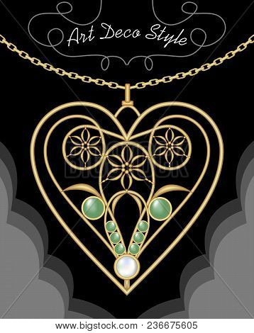 Golden Art Deco Filigree Necklace, Pendant In Heart Shape With Flowers And Green Gems On Fine Golden