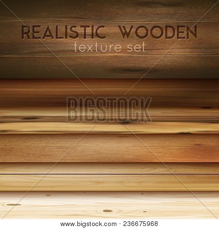 Realistic Wooden Texture Horizontal Set With Editable Text And Cumbersome Images Of Polished Wood Pa