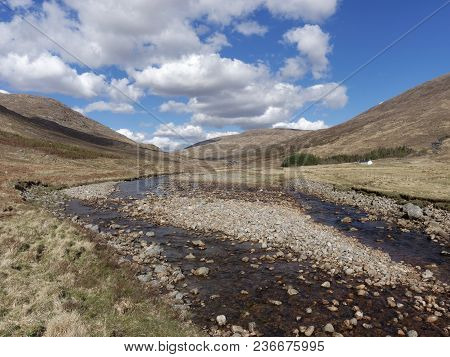 River Kinglass In Glen Kinglass, Scotland West Highlands In Spring