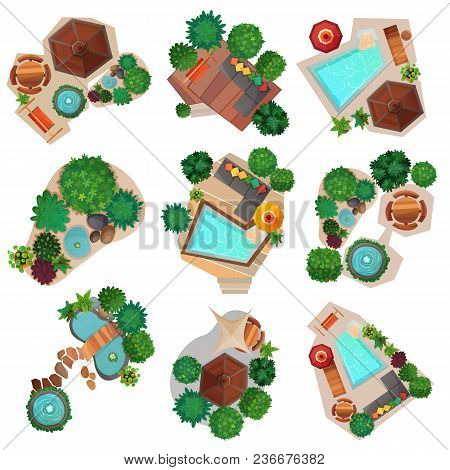 Landscape Compositions Top View Set With Pond Or Pool, Trees And Shrubs, Garden Furniture Isolated V