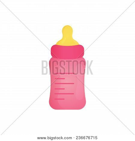 Pink Baby Feed Bottle With Baby Formula For A Milk Feeding. Baby Shower Element For Boys.