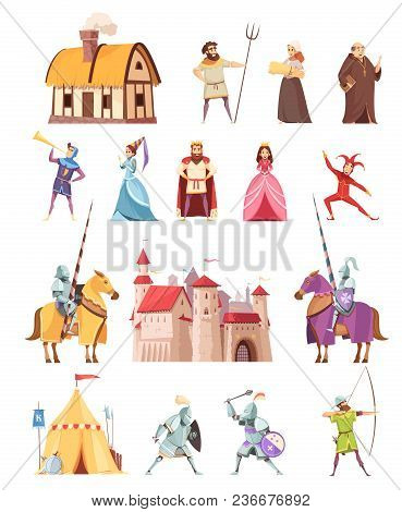 Medieval Characters Historical Buildings Cartoon Icons Set With Castle Ridders Tent Peasant King Kni