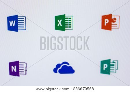 Ryazan, Russia - April 16, 2018 - Logos Of Microsoft Programms On The Display Of Pc