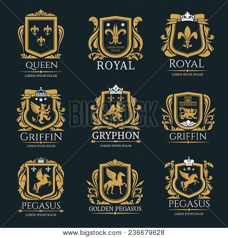 Heraldry Vector Logo Set. Gryphon Royal Logo For Vip Hotel, Restaurant Or Any Business. Griffin Icon
