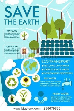 Save Earth Banner For Ecology Environment Sustainable Development Concept. Eco Nature Conservation A