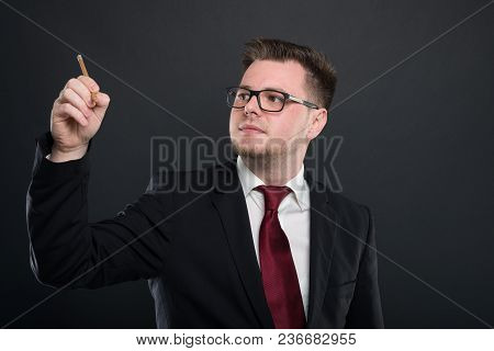 Business Young Man Writing With Graphic Pencil.