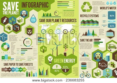 Ecology Infographic For Save Earth Concept. Environment Protection Technologies Chart, Graph And Wor