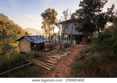 Basic Home With No Running Water, Electricity, Or Other Modern Conveniences Outside A Small Village