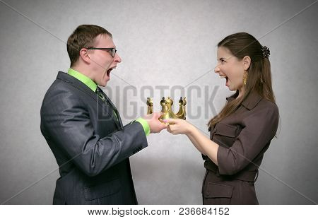 First Place Struggle Concept. Race For Power. Two Person Pull Golden Crown At Each Other Isolated On