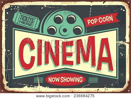 Cinema Retro Decorative Sign Layout. Vintage Poster Design For Cinema. Movies And Entertainment Them