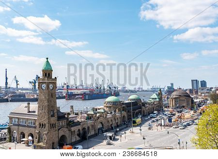 High Angle View Of St. Pauli Piers With Elbe River And Harbor Docks In Hamburg, Germany On Sunny Day
