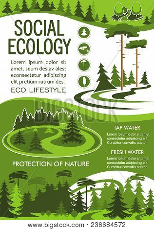 Ecology And Environment Protection Banner For Nature Resources And Ecosystem Conservation Template.