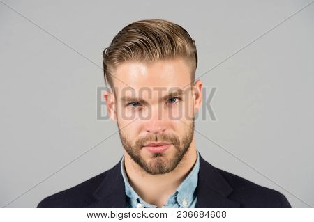 Businessman With Beard And Mustache On Unshaven Face. Bearded Man With Stylish Hair Or Haircut. Bear